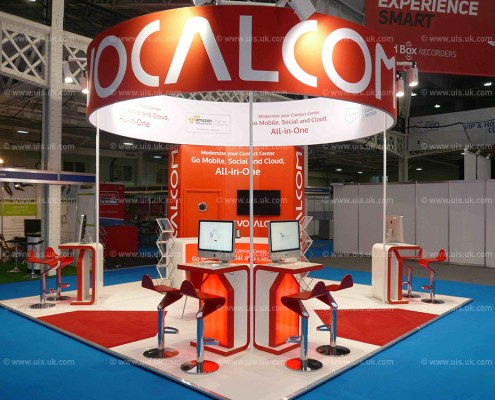 Suspended, double sided, drum over exhibition stand